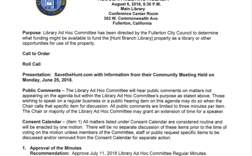Library Ad Hoc Meeting, August 6