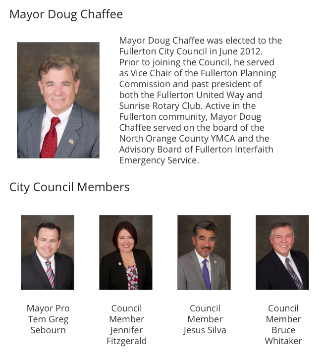 Fullerton City Council 2018