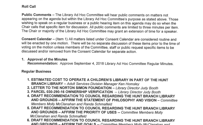 Final Library Ad Hoc Committee Meeting Wednesday, Oct. 10, 5:30 p.m. the Muckenthaler Cultural Center
