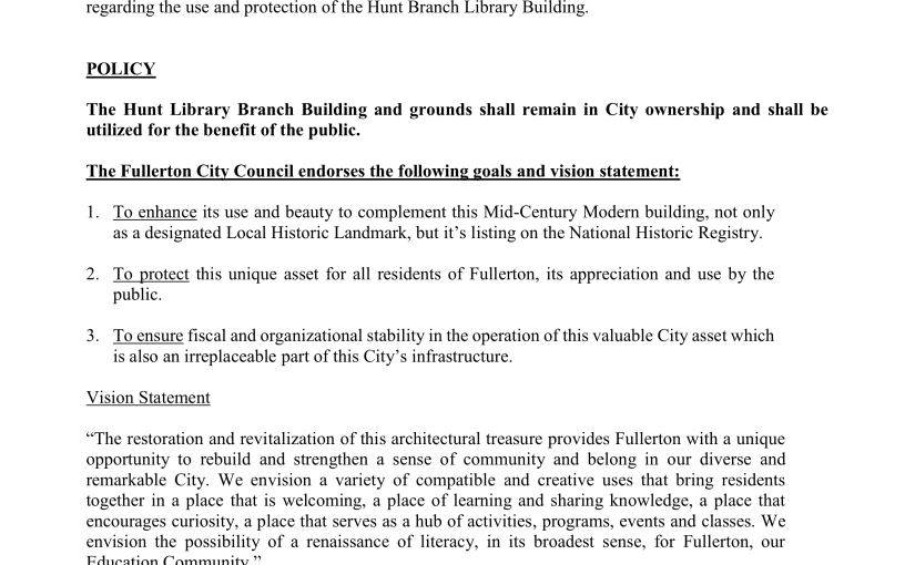 City  Council to Consider Hunt Library Policy Statement